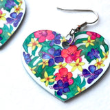 Botanical Hearts of Hawai'i earrings with peach orchids, purple hibiscus and yellow plumeria - Mika Harmony