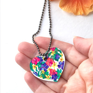 Orchid, Hibiscus and Plumeria Flower Heart Necklace - Mika Harmony
