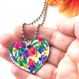 Tropical Botanical Flower Heart Necklace on silver chain - Mika Harmony