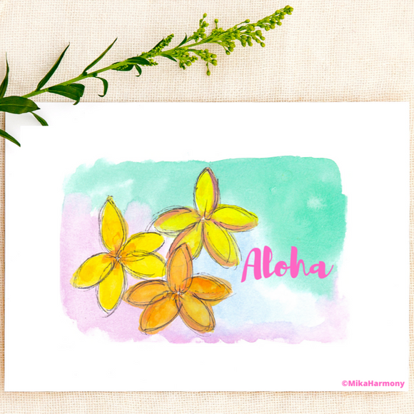 ALOHA: Floral Yellow Plumeria greeting card - Mika Harmony