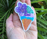 Tropical Hawaiian Dessert sticker: Mint Chip Ice Cream and purple orchid - Mika Harmony