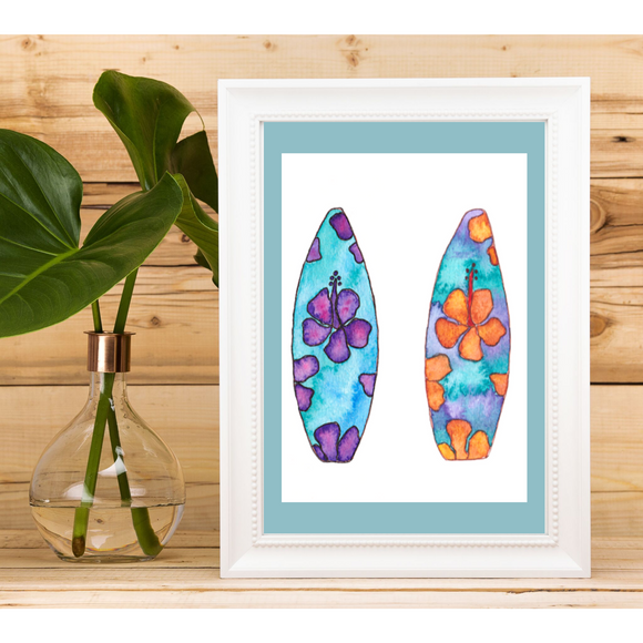 5x7 ART PRINT: Tropical Surfboard Art - Mika Harmony