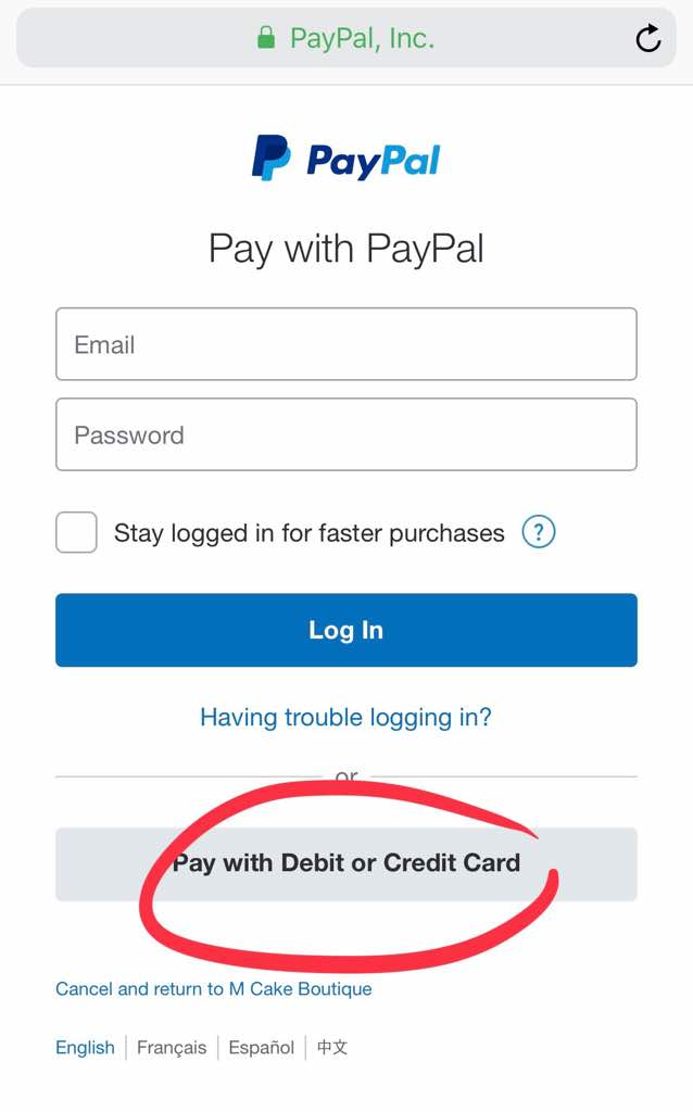 Pay Credit Card without having to create a PayPal account