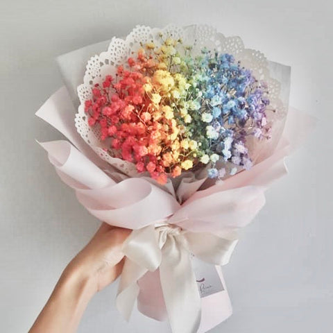 Bouquet of sprayed baby's breath (in the colours of the rainbow) - M Cake Boutique