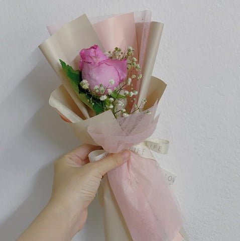 Beautifully Wrapped Single Rose Bouquet (Korean Style) - M Cake Boutique