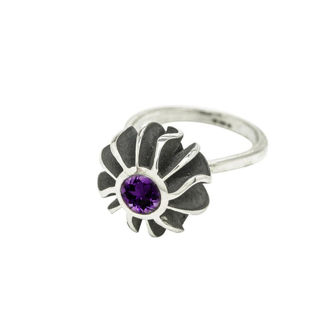Big Black Coral Amethyst Set Ring