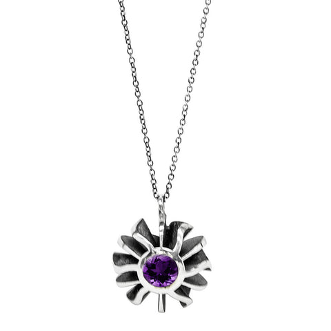 Big Black Coral Amethyst Set Pendant