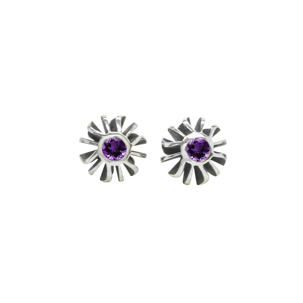 Big Black Coral Amethyst Set Studs