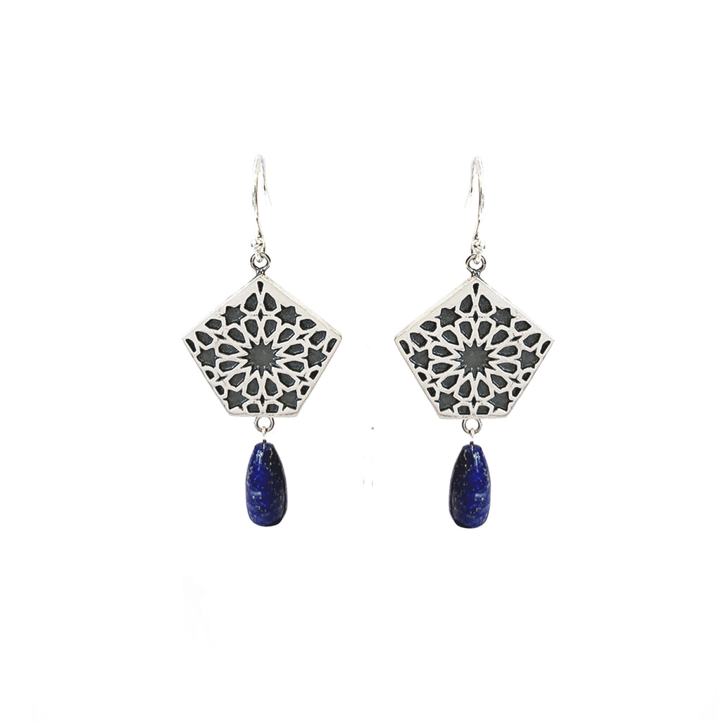 Laila Pentagon Relief Pattern Earrings
