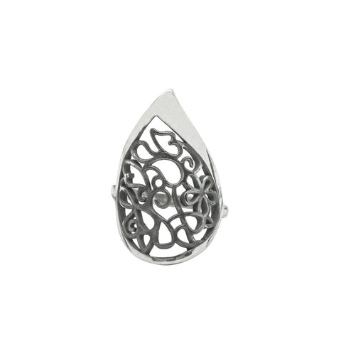 Big Tear Drop Filigree Ring