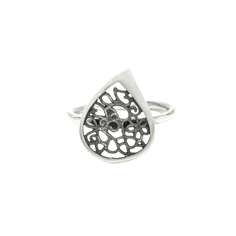 Tear Drop Filigree Ring