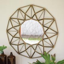 Antique Gold Round Metal Mirror