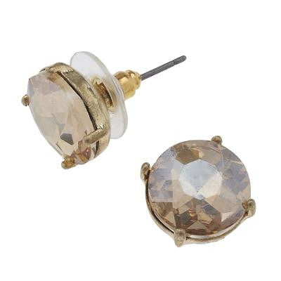 Champagne Stone Stud Earrings