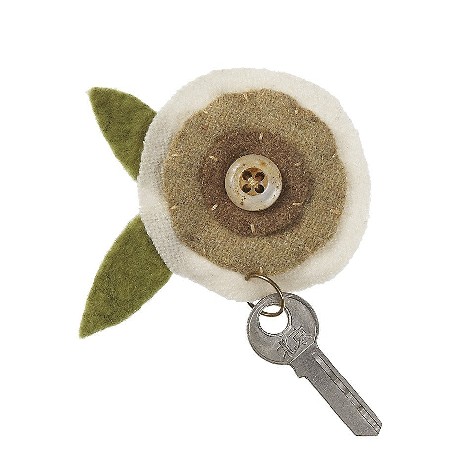 Cream Layered Flower with Key Magnet