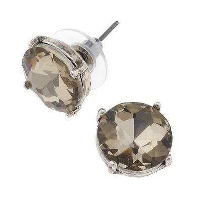 Platinum Stone Stud Earrings
