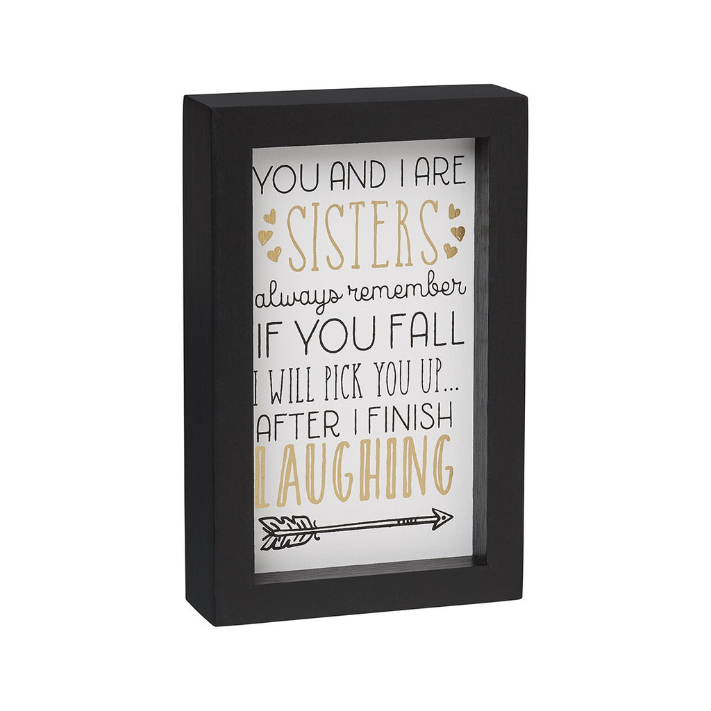 Finish Laughing Framed Box Sign