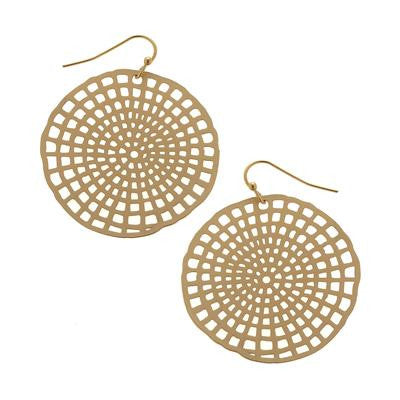 Gold Circle Weave Earrings