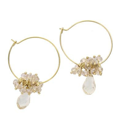 Gold Hoop and Crystal Drop Earrings