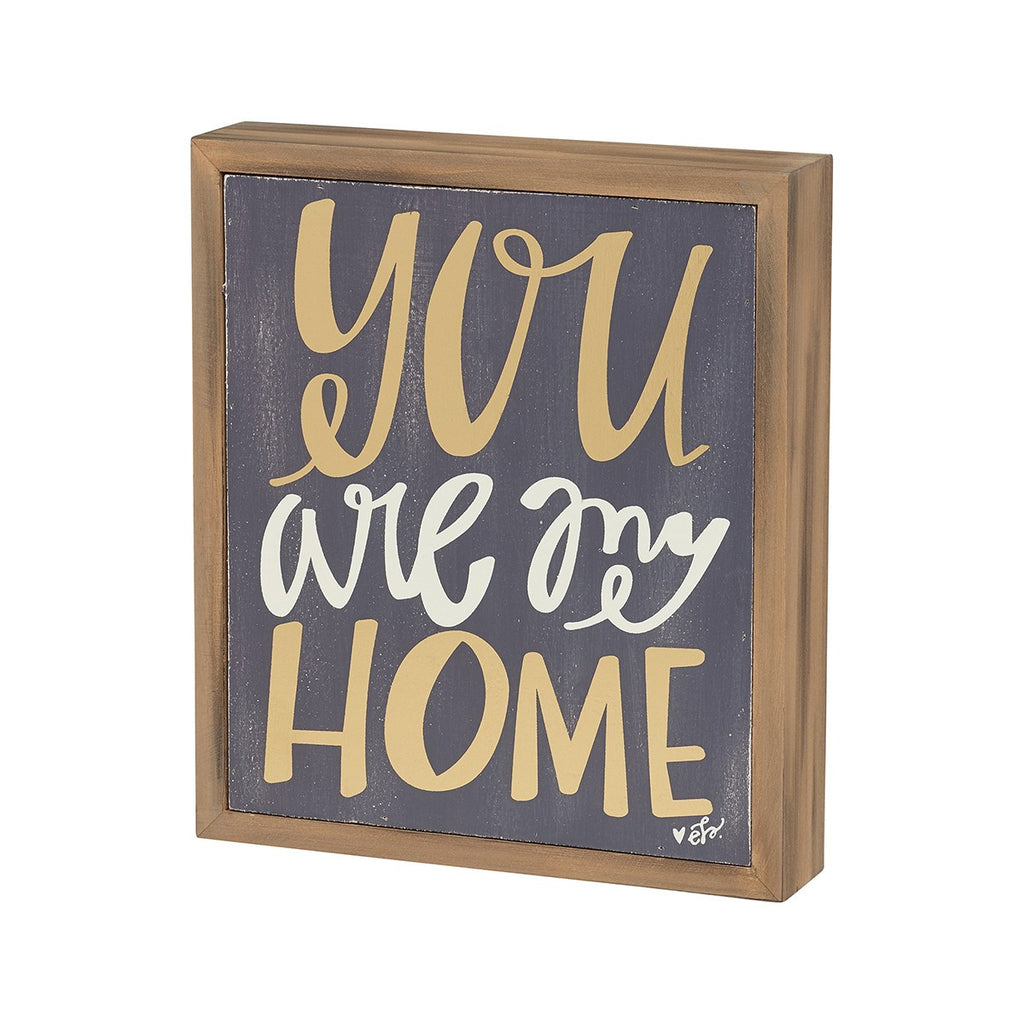 My Home Grey Wood Box Sign