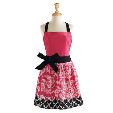 Pink & Black Riviera Floral Apron