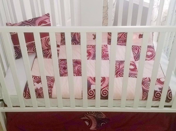African Baby Bedding- Comforter- La vie en rose 4pc Crib Bedding Set
