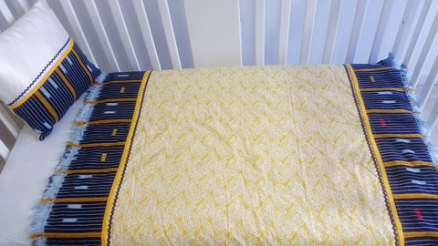 Baby Quilt, Blue & yellow Ikat Baule-Traditional Elegance