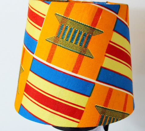 African print, Kente cloth lampshade-Orange kita