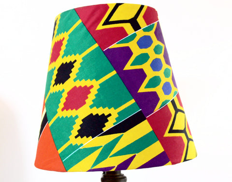 Nursery lampshade, Red Kente drum lampshade