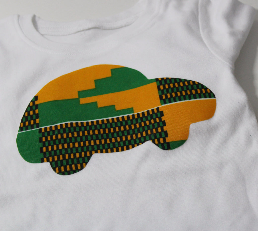 Long sleeve African Kente bodysuit-Race car