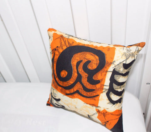 Orange Indigo  handmade pillow, nursery pillow
