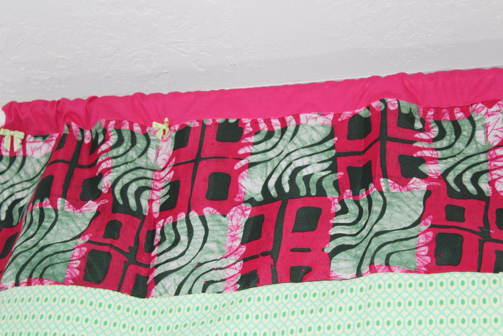 Nursery valance curtains, home decor, African Batik