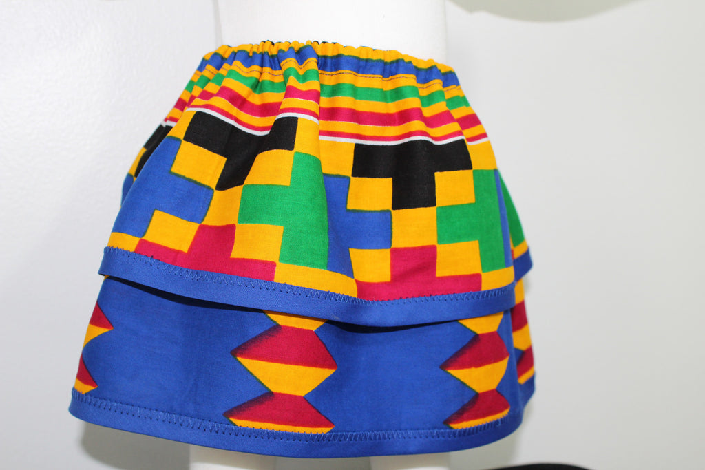 Two tiered toddler skirt, Kente girl skirt-Dessin