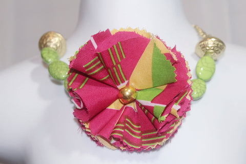 African Kente Pink and green necklace