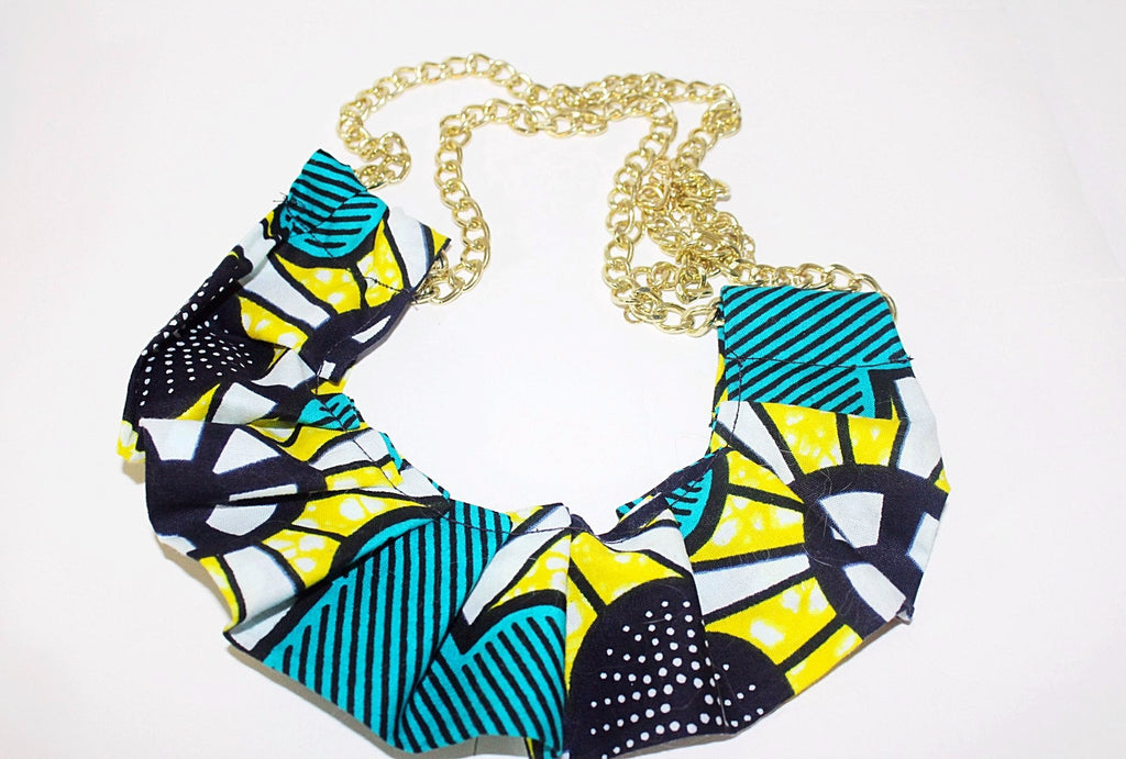 African print necklace-Jade