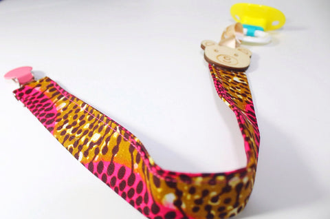 African print pacifier holder-Sweet Ps