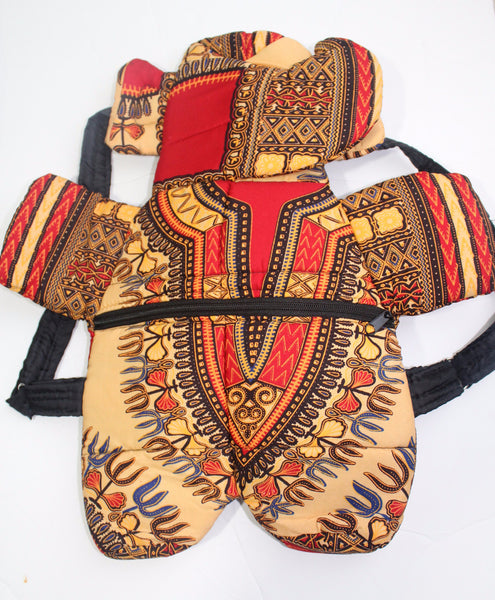 African Print Toddler Backpack, toddler school bag- Dashiki rouge beige