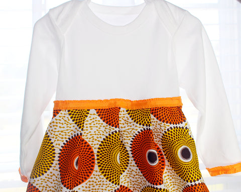 African print girl dress, onesie dress- Pumpkin