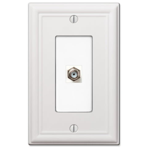 Chelsea White Steel - 1 Cable Jack Wallplate | 149CXW