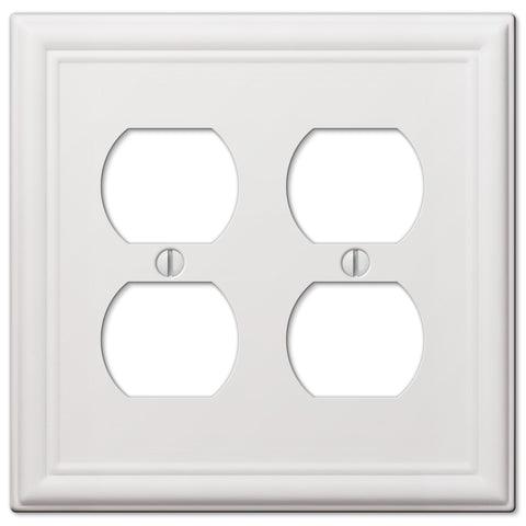 Chelsea White Steel - 2 Duplex Outlet Wallplate | 149DDW
