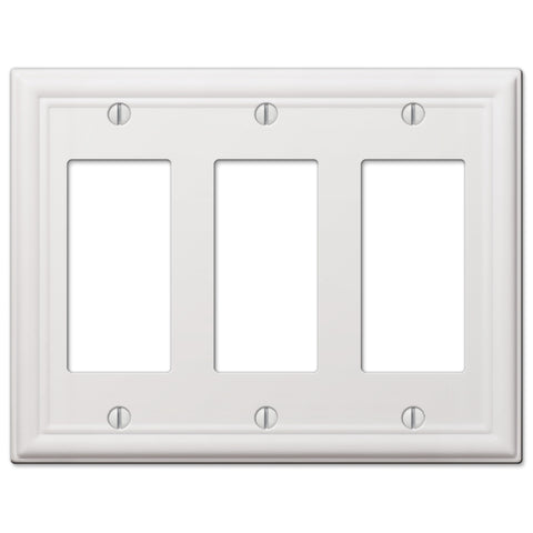 Chelsea White Steel - 3 Rocker Wallplate | 149RRRW