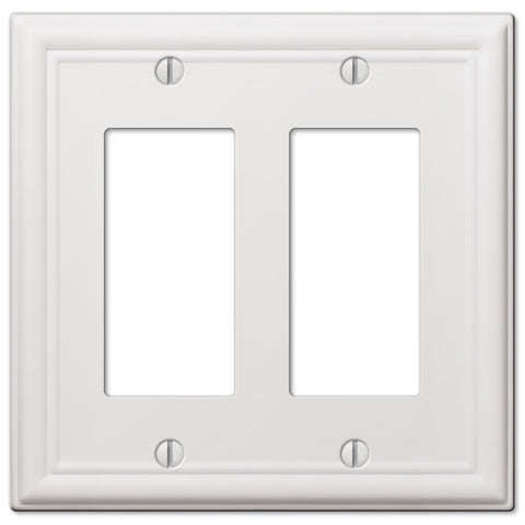 Chelsea White Steel - 2 Rocker Wallplate | 149RRW