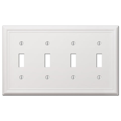 Chelsea White Steel - 4 Toggle Wallplate | 149T4W