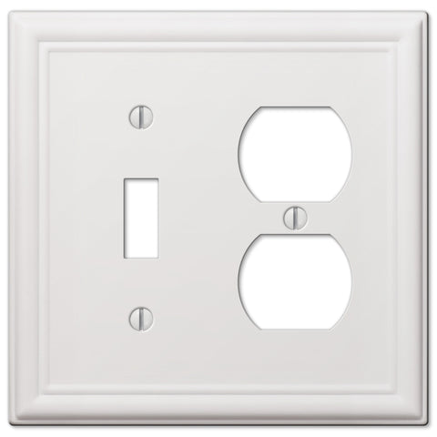 Chelsea White Steel - 1 Toggle/ 1 Duplex Outlet Wallplate | 149TDW