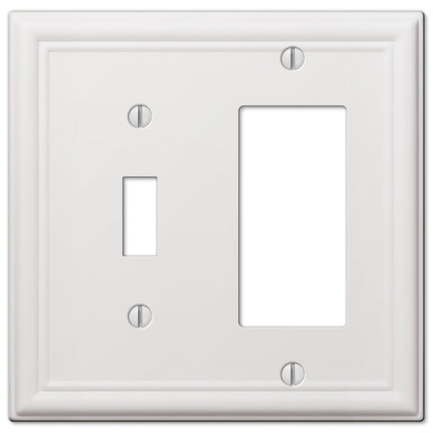 Chelsea White Steel - 1 Toggle/ 1 Rocker Wallplate | 149TRW