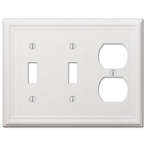 Chelsea White Steel - 2 Toggle/ 1 Duplex Outlet Wallplate | 149TTDW
