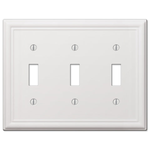 Chelsea White Steel - 3 Toggle Wallplate | 149TTTW