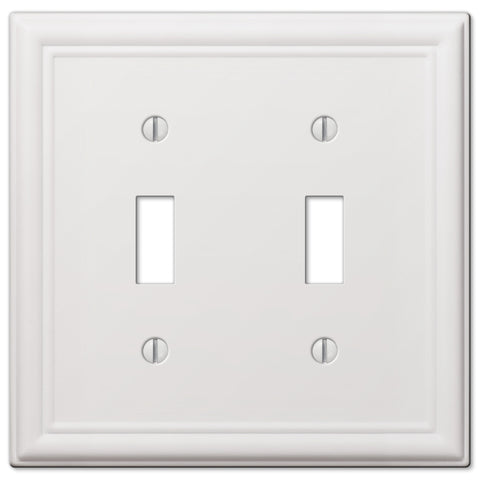 Chelsea White Steel - 2 Toggle Wallplate | 149TTW