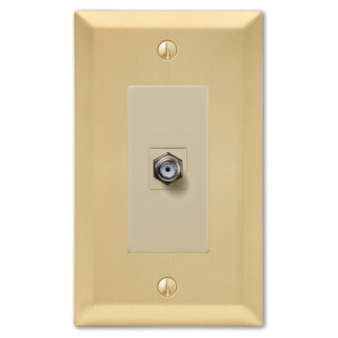 Century Satin Brass Steel - 1 Cable Jack Wallplate | 163CXSB