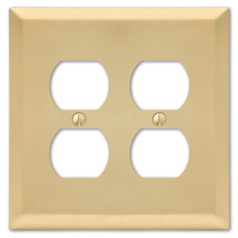 Century Satin Brass Steel - 2 Duplex Outlet Wallplate | 163DDSB