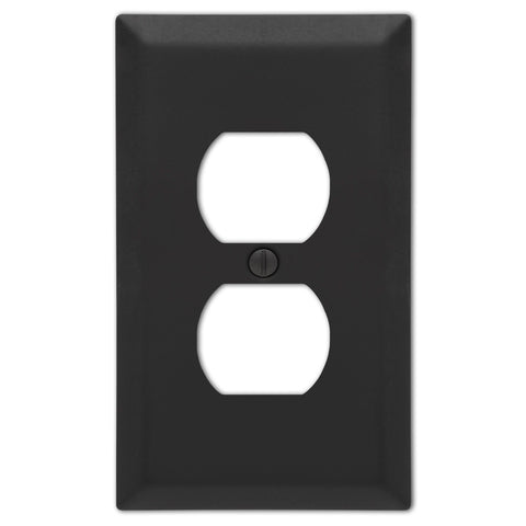 Century Stamped Steel Matte Black - 1 Duplex Outlet Wallplate | 163DMB